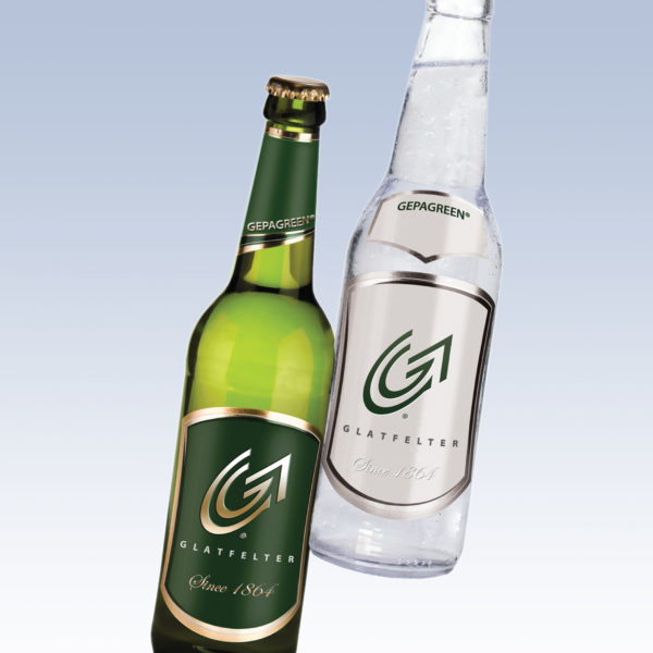 Beer bottles highlighting Glatfelter metallized labels