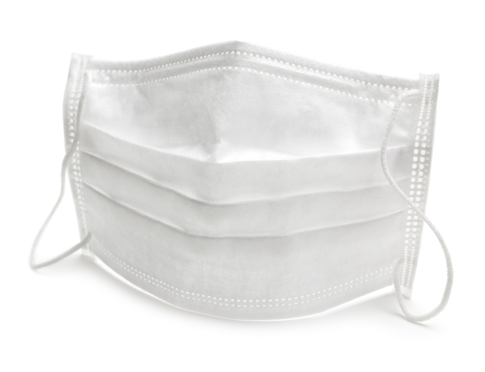Medical face mask on white background